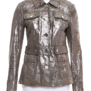 Tory Burch Sgt Pepper Silver Leather Jacket !!!